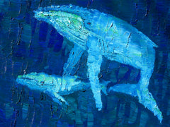 Migaloo and Calf Embrace Painting by Stephanie Fuller