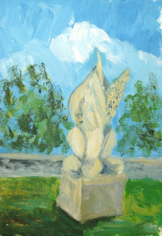 Peter Fuller and son Gabriel Fuller's grave – Stowlangtoft, Suffolk 2014, Stephanie Burns, Acrylic on paper, 28 x 19 cm