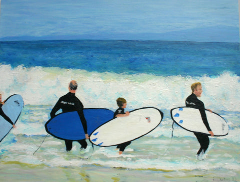 Surfing Painting of Laurence Fuller by Stephanie Fuller