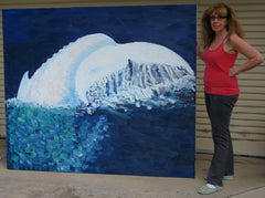 Stephanie Burns with Migaloo Oil Painting