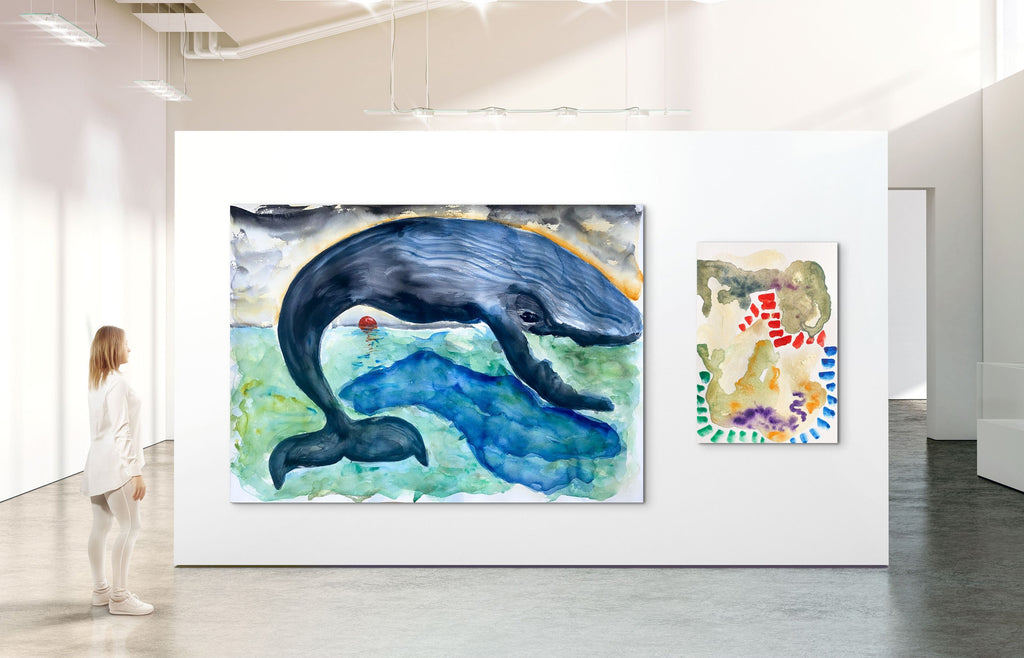 Whale and Lighthouse Paintings NFT by Stephanie Fuller