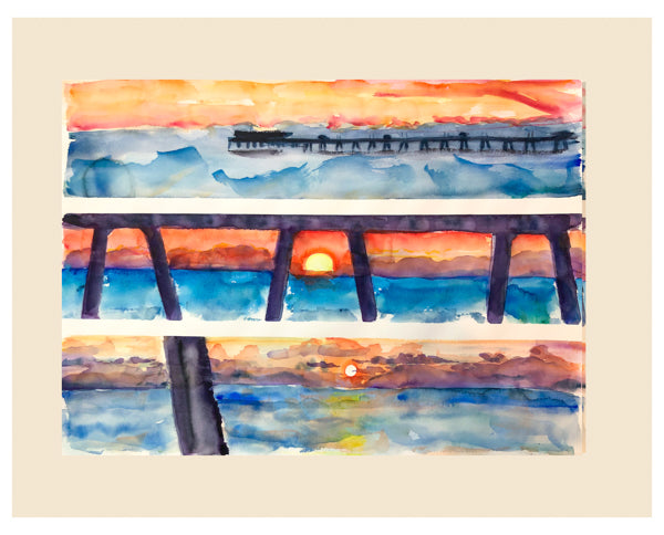 Red Sunrise Deal Pier Painting by Watercolour Artist Stephanie Fuller