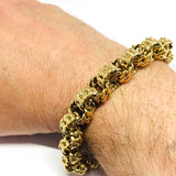 9ct Gold round curb style bracelet 9""