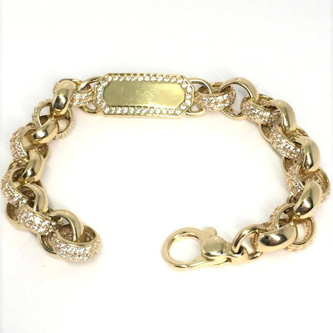 "9ct gold childs identity bracelet white cz 7"" (15335)"