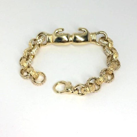 9ct gold childrens boxing glove bracelet (15335)
