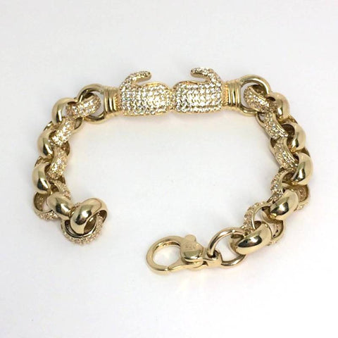 9ct gold childrens boxing glove bracelet cz (15335)