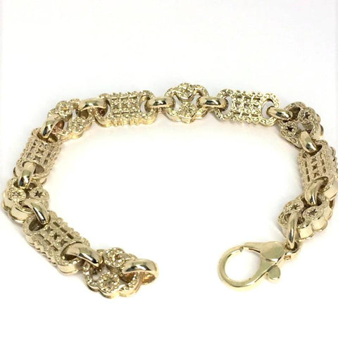 9ct gold stars & bars bracelet (1146)