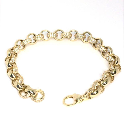 "9ct gold childs belcher bracelet white cz 6"" (15335)"