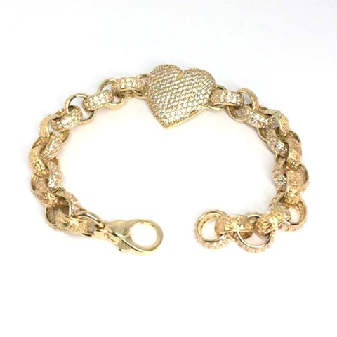 9ct gold childs heart bracelet white cz (15335)