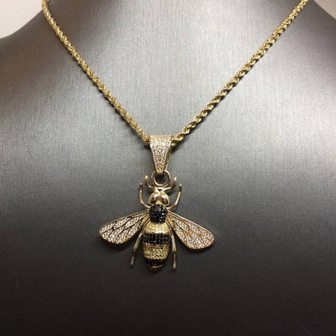 9ct gold Rope chain & King Bee pendant cz 29""
