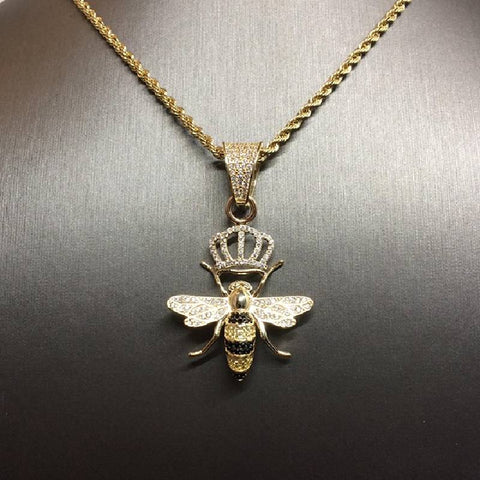 9ct gold Rope chain & Queen Bee pendant cz 25""