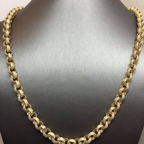 9ct gold belcher chain plain cz stone set 26""