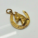 9ct gold Horse Horse shoe Pendant Pre owned