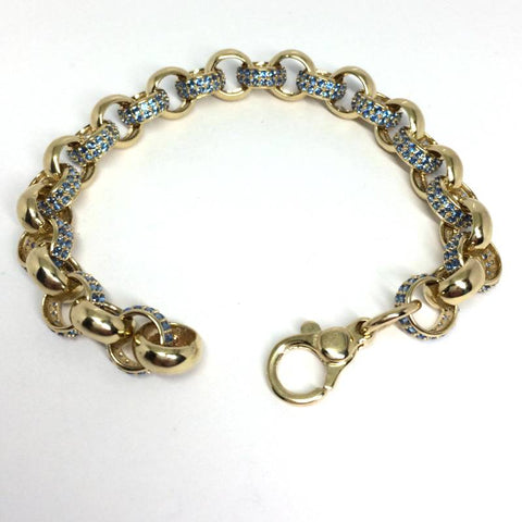 "9ct gold childs belcher bracelet blue cz 6"" (15335)"