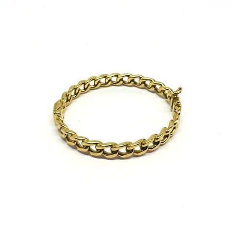 9ct Gold curb design oval bangle 6""