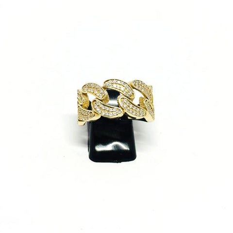 9ct Gold Cuban style Ring  cz stones size U