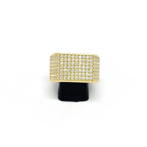 9ct Gold Micro pave Ring cz stones size X 1/2 (002)