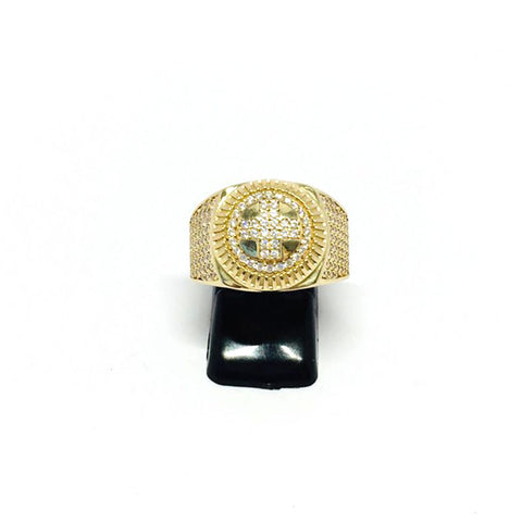 9ct Gold Ring with rolex shoulders cz stones size Q