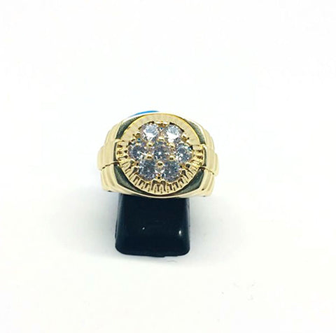 9ct Gold Presidential ring with white cz size U