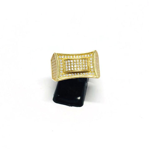 9ct Gold Micro pave Ring cz stones size W (004)
