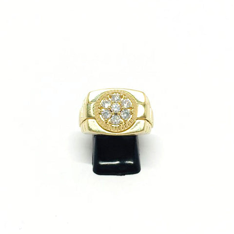 9ct Gold Ring with rolex shoulders cz stones T 1/2