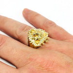 9ct Gold Lion ring cz stones size U
