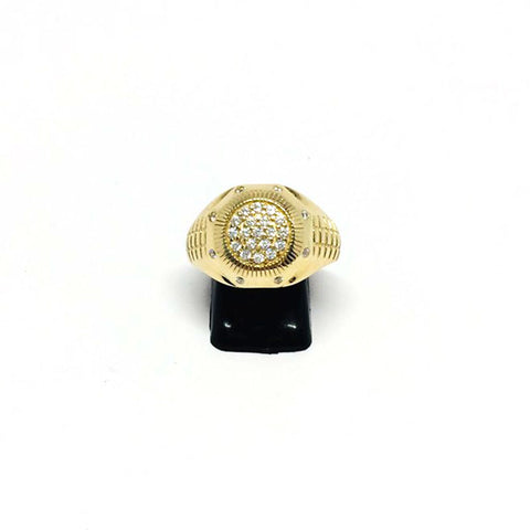 9ct Gold Ring with rolex shoulders cz stones size P 1/2