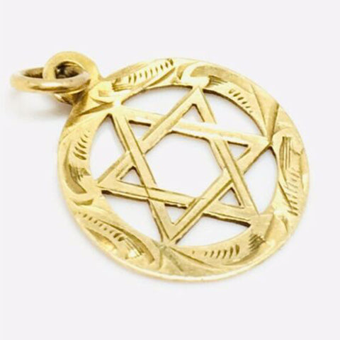 9ct gold Star of David pendant Pre owned