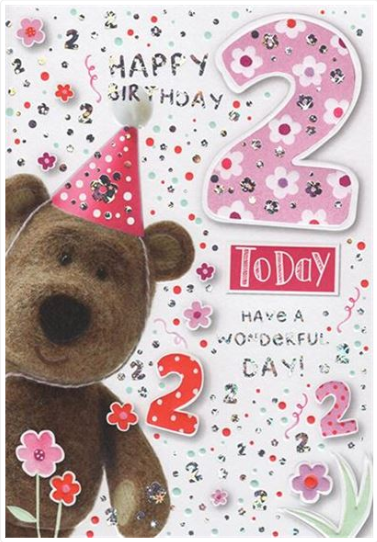 Age 2 Girl Birthday Card