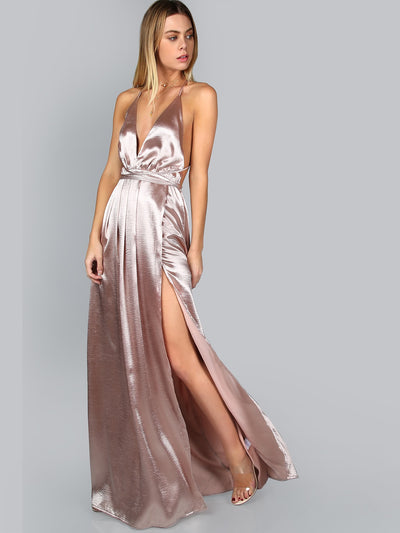 deep v neck spaghetti strap dusty pink satin criss cross wrap backless high split thigh maxi slip dress, female model view 1
