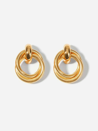 two gold double ring hoop earrings, view 1