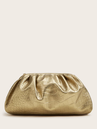 ruched gold embossed crocodile pattern pu leather clutch bag, view 1