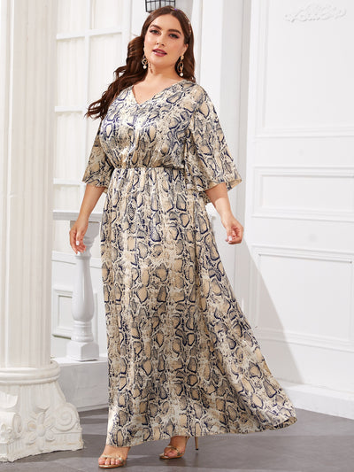 satin v neck snakeskin print 3/4 length sleeve high waist long flared hem maxi dress, female model view 1