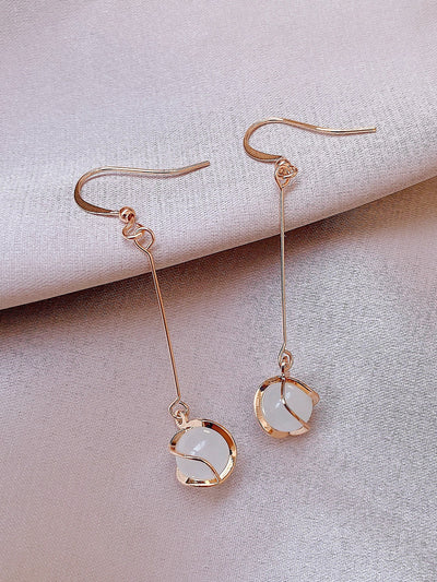 gold and pearl drop dangle earrings, view 1