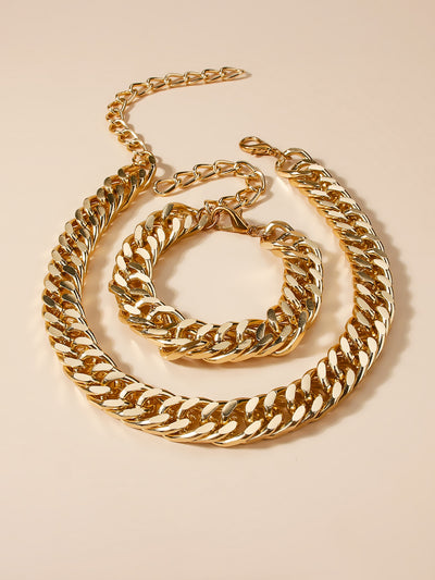 glamorous gold bracelet and necklace set, view 1