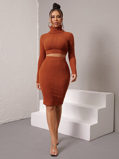 long sleeve slim fit rust brown roll neck crop top and knee length pencil skirt set, female model view 1