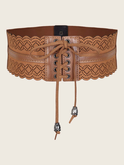 brown pu leather lace up laser cut corset belt, view 1