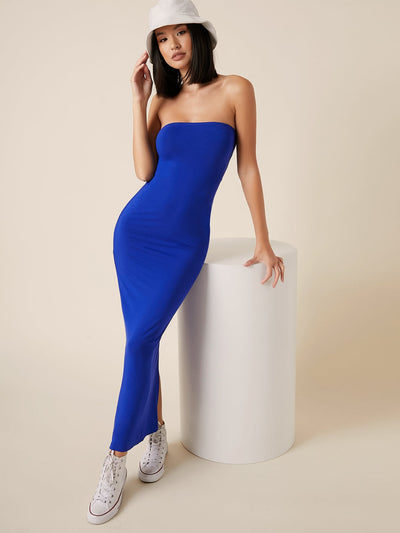 strapless plain blue split back hem bodycon maxi dress, female model view 1