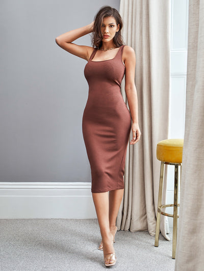 square neck shoulder strap tank rib knit coffee brown bodycon midi dress, female model view 1