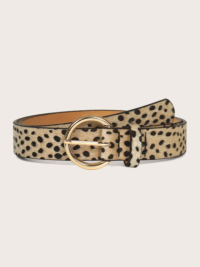 pu leather yellow dalmatian pattern buckle belt. view 1