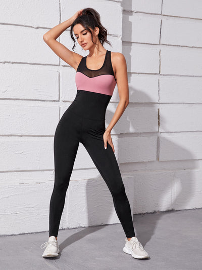 high stretch scoop neck contrast lace black pink stripe sports skinny fit jumpsuit, female model view 1
