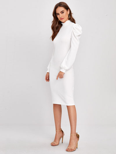 white long gigot sleeve stand collar frilly trim bodycon midi dress, female model view 1