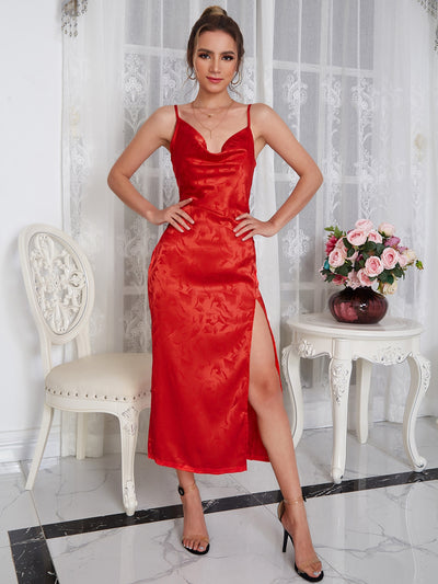 red satin jacquard draped spaghetti strap long split thigh dress, female model view 1