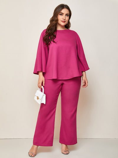 round neck pink long bell sleeve flared top and flared trouser set, female model view 1