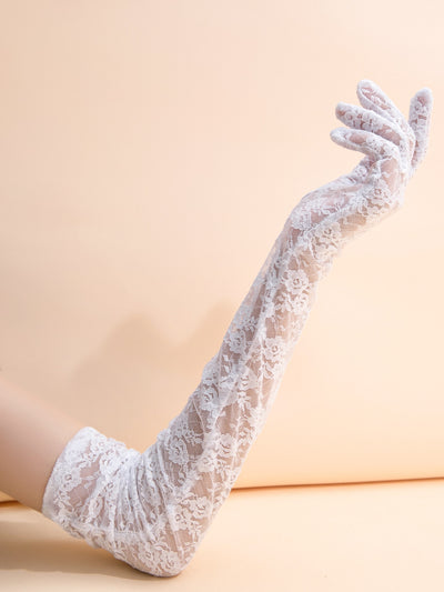 long white floral lace gloves, female model view 1