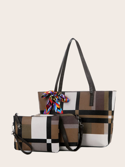 multicolour pu leather double handle three piece shoulder tote bag set, view 1