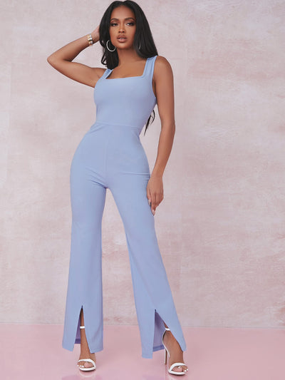 slim fit square neck tank pastel blue cotton flared split leg jumpsuit, female model view 1