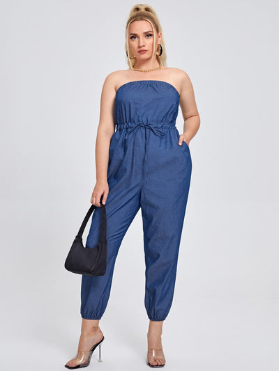 Female Model Wearing a Casual Loose Fit Denim Tube Jumpsuit, Full Length