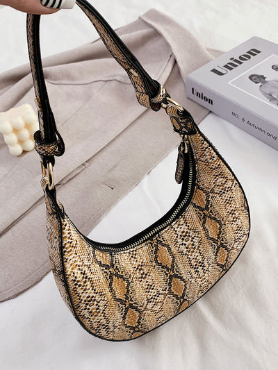 pu leather yellow snakeskin print baguette shoulder bag, view 1