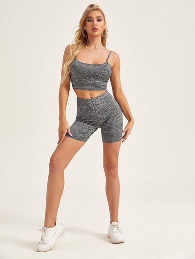 grey rib knit sports slim fit cami crop top and skinny biker shorts set, female model view 1